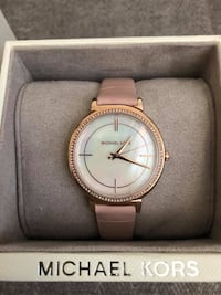 Michael Kors Women's Cinthia Mother of Pearl Watch in Pink Leather Markham, L3P