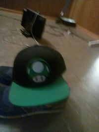 black and green Super Mario mushroom theme fitted cap