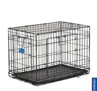 "Black metal folding dog crate 30"" for small dog"