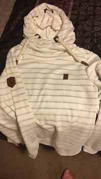white and gray striped pullover hoodie