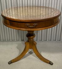 Antique round leather top drum table with paw feet Nottingham, 03290