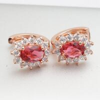 $20 Brand New 14K Rose Gold Plated Earrings Oval Cut 2.0CT Ruby And White CZ In Gift Box /E8 1290 mi