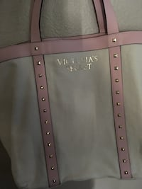 Studded white and pink victoria's secret tote bag