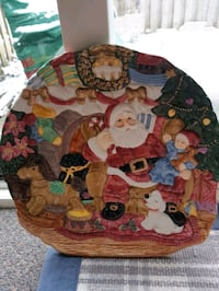 NEW CERAMIC  SANTA COOKIE PLATE