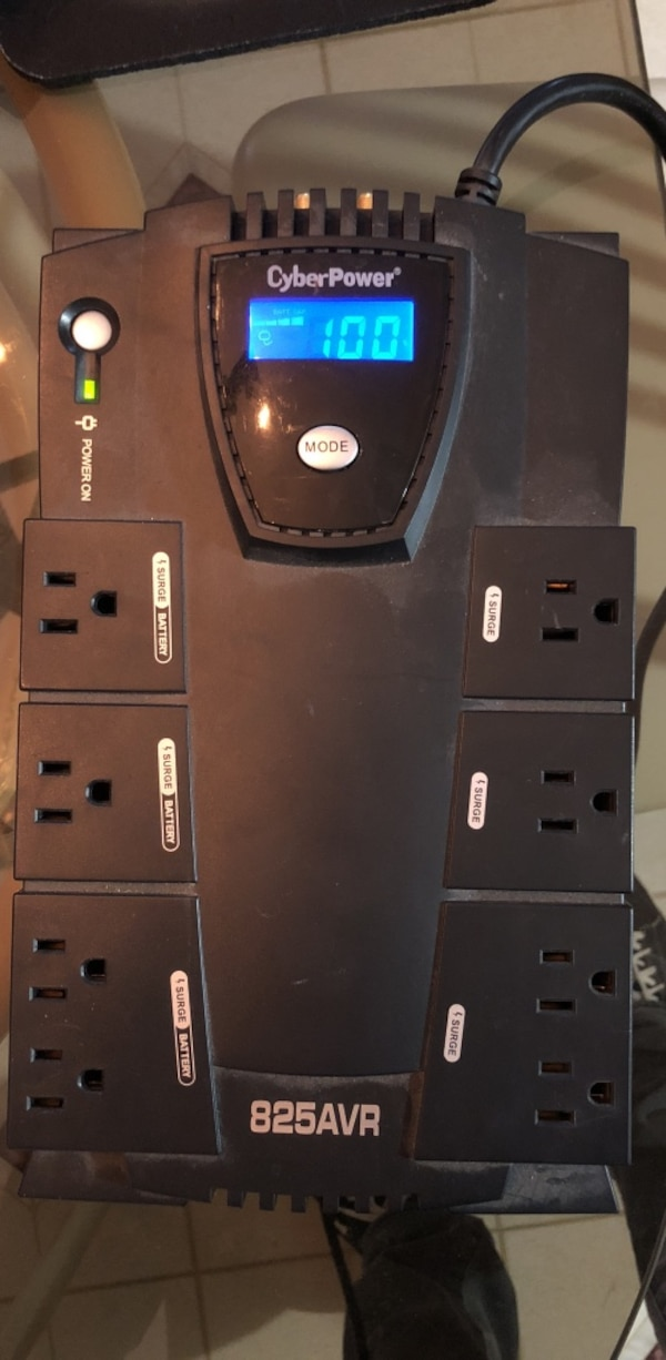 CyberPower 825AVR Office Power Intelligent LED UPS System 8 Outlet Surge  Electronics Computer Gaming Video Files Power Supply Battery Backup