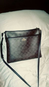 black and gray Coach leather crossbody bag Cutler, 93615