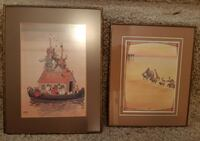 """2 Vintage Framed Prints  W Heath Robinson Cleaning Noah's Ark (7.5"""" x 10"""")  Handcrafted by Julie 1984 (7"""" x 8 1/2"""")  Prints are glass framed   $20 for the pair  Pick-up in Newmarket  (Ref # offtovv) Newmarket"""