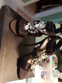 brown Steve Madden leather quartz stone studded stilettos with box Conway, 29526