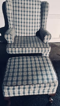 Upholstered Chair with matching Ottoman. Multi-Color Green Plaid Fabric Print Blairstown, 07825