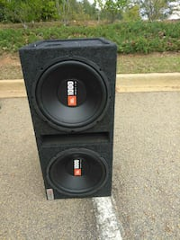 black JBL loaded subwoofer enclosure