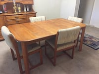 rectangular brown wooden table with four chairs dining set 219 mi