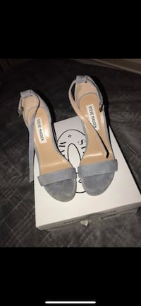pair of gray Steve Madden leather open toe heels Sterling, 20165