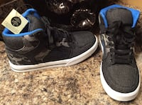 Boy's black, gray, & blue canvass camou high cut shoes- brand new with tag, pls slide to see other photo Calgary, T2J