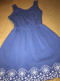 Isani blue embroidered dress with necklace and NEW NAPIER EARINGS 832 mi