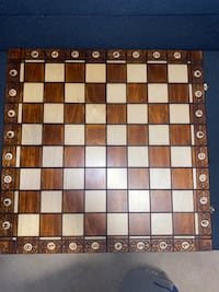 Hand carved wood chess board