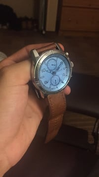 Round silver chronograph watch with brown leather strap Sterling, 20166
