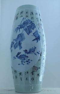 white and blue floral ceramic vase CENTREVILLE