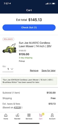 Rechargeable Lawn Mower EXCELLENT Condition Sun Joe COREDLESS Columbus