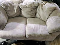 gray fabric 2-seat sofa