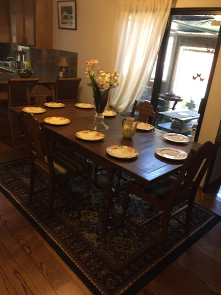 dining room table all oak expandable 7 chairs and rh tr letgo com