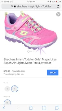 Pink toddler magic lites size 9