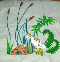 Frog & floral hand embroidered swatch Athens, 30601