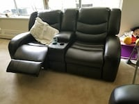 black leather home theater recliner loveseat