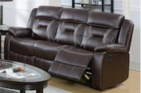 New Reclining Couch. Brown Gel Leatherette. Delivery Included! Fullerton