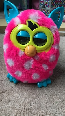 Furby pink and white plush toy