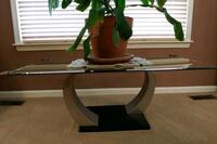 Stainless STEEL GLASS COFFEE TABLE Falling Waters, 25419