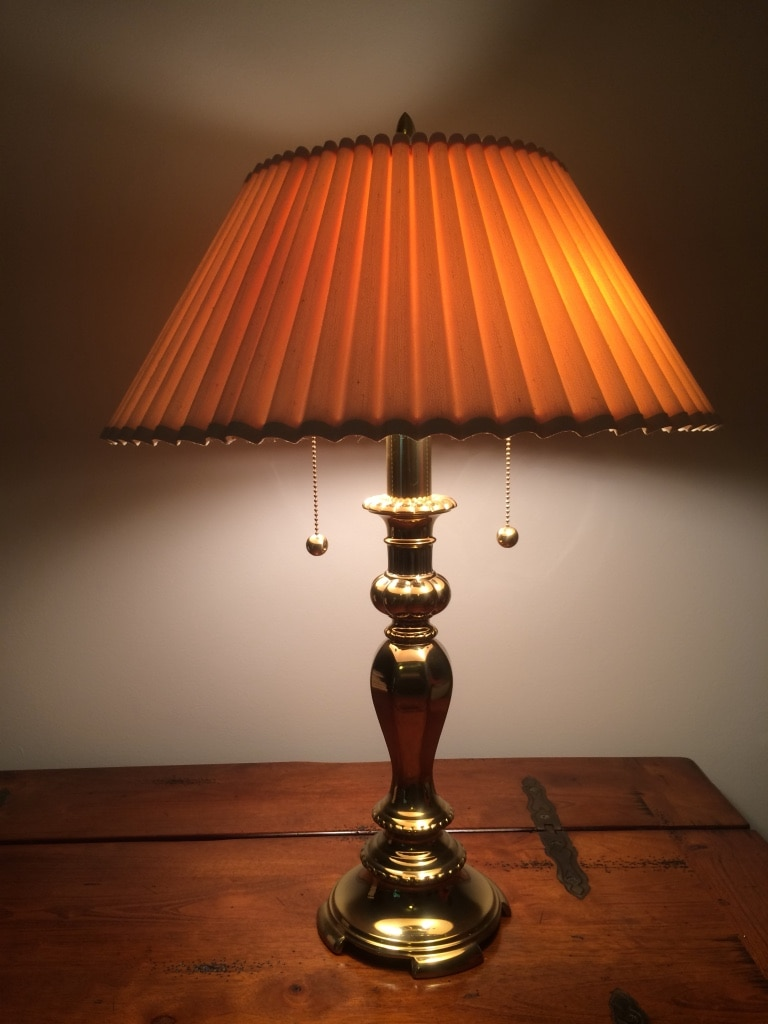 Brass lamp with shade. Excellent condition. Absolutely like new..
