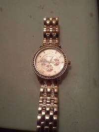 round gold chronograph watch with link bracelet Anderson, 46013