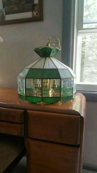 green and brown stained glass pendant lamp Abington, 19001