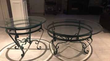 Set of glass tables , coffee table and end table