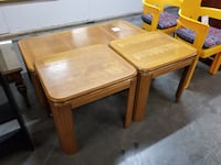 Matching Pair of Light Wood End Tables w/ Half Round Legs Salina
