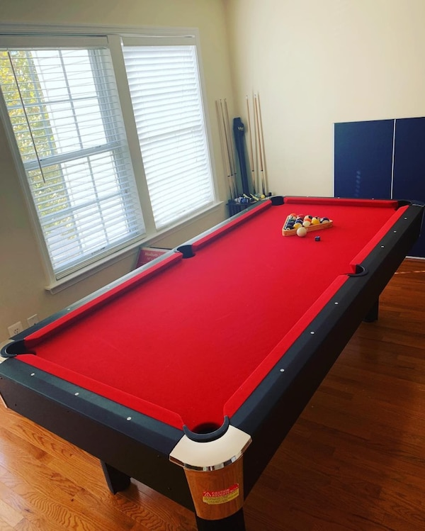red and blue billiard table