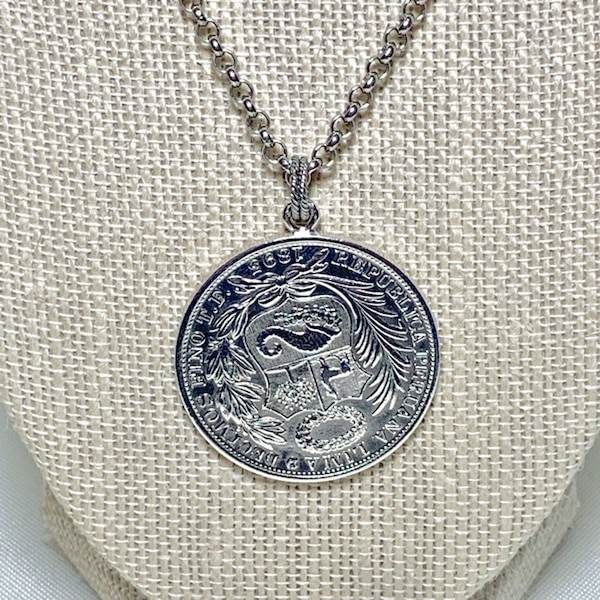 Antique Peruvian Silver Coin Pendant with Sterling Silver Chain e726a153-84d1-45ad-994b-aca276aaad9c