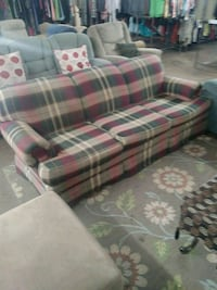 red and white plaid fabric sofa set Riverview, 33578
