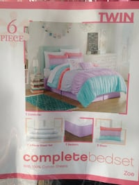 6 piece Twin complete bed set box