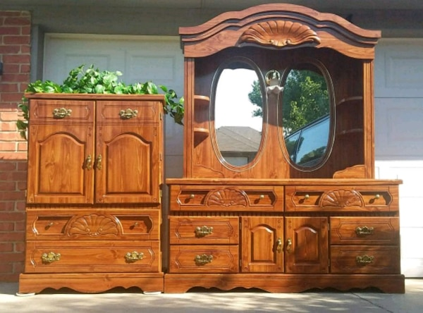 used rustic queen size bedroom set for sale in yukon - letgo