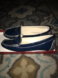 Women's blue leather loafers!!