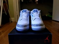pair of white Air Jordan 3's Silver Spring, 20906