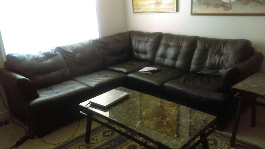used dark brown leather living room set with two side t in inwood. Black Bedroom Furniture Sets. Home Design Ideas