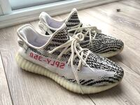 Pair of zebra adidas yeezy boost 350 v2 London