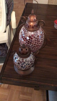 two brown-and-red stained glass floral tubular lanterns Laval, H7C 2H9