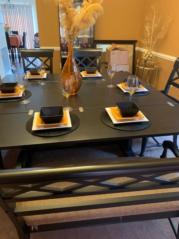 6 seat Dining Room Table and serving table