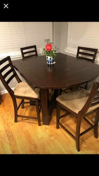 Rectangular brown wooden table with four chairs dining set Modesto, 95356