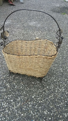 black and beige rope and wire basket