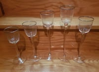 five clear candle holders  Brampton, L6X 4T9