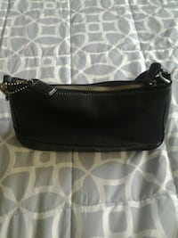 black leather Coach Small clutch/large wristlet